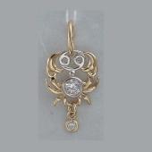 Подвеска Рак знак зодиака с подвижным фианитом из желтого золота 585 пробы