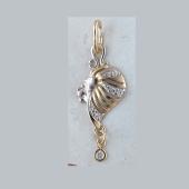 Знак Зодиака Лев из желтого золота с фианитами