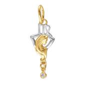 Знак Зодиака Дева из желтого золота с фианитами