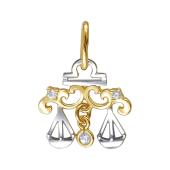 Знак Зодиака Весы из желтого золота с фианитами