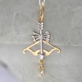 Знак Зодиака Стрелец из желтого золота с фианитами