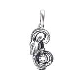 Кулон Козерог знак зодиака с фианитами из серебра 925 пробы