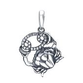 Кулон Рак знак зодиака с фианитами из серебра 925 пробы