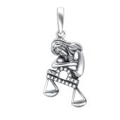 Кулон Весы знак зодиака с фианитами из серебра 925 пробы