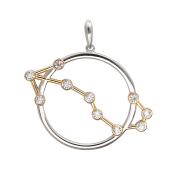 Подвеска созвездие Скорпион с фианитами, серебро с позолотой