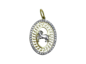 """Кулон, знак зодиака """"Овен"""" в овале с фианитами, внутри греческий рисунок, желтое золото, 2.5 см"""