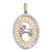 """Кулон, знак зодиака """"Овен"""" в овале с фианитами, внутри греческий рисунок, красное золото, 2.5 см"""