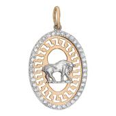 Кулон, знак зодиака Телец, телец в овале с фианитами, красное золото