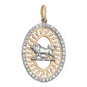 """""""Лев"""" комбинированное золото, узор из красного золота, 585 проба,вставка фианиты"""