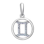 Подвеска Знак зодиака Близнецы с нанотопазом из серебра 925 пробы