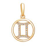 Подвеска Знак зодиака Близнецы с нанотопазом из серебра с позолотой 925 пробы