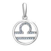Подвеска Знак зодиака Весы с нанотопазом из серебра 925 пробы