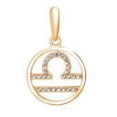 Подвеска Знак зодиака Весы с нанотопазом из серебра с позолотой 925 пробы