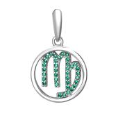 Подвеска Знак зодиака Дева с наноизумрудом из серебра 925 пробы
