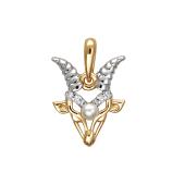 Подвеска знак зодиака Козерог с белым жемчугом и фианитами из красного золота 585 пробы