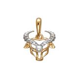Подвеска Телец с белым жемчугом и фианитами из красного золота 585 пробы