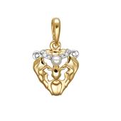 Подвеска Левс белым жемчугом и фианитами из красного золота 585 пробы