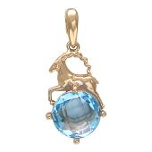 Знак зодиака Козерог, фигура козерога на круглом полудрагоценном камне, красное золото