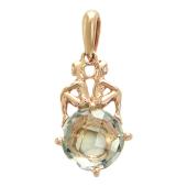Кулон Близнецы с круглым камнем (кварц, топаз, голубой топаз, аметист, празиолит), красное золото