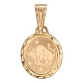 Телец Красное золото, 585 проба гравировка в овале, 1.5 см