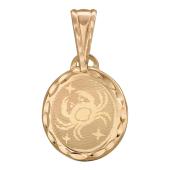 Кулон Рак в овальной рамке с лазерной гравировкой, красное золото