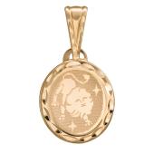 Лев, красное золото 585 проба, лазерная гравировка внутри овала