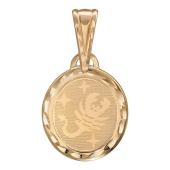 Скорпион, красное золото, 585 проба, лазерная гравировка внутри овала