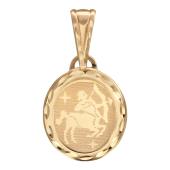 Стрелец, красное золото 585 проба, лазерная гравировка внутри овала