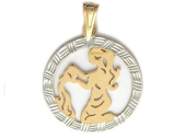 """""""Водолей"""" Красное золото, 585 проба. Фигура Водолей в круге с алмазной огранкой"""