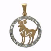 Кулон Овен Красное золото, 585 проба. Фигура овна в круге с алмазной огранкой.