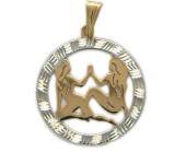"""""""Близнецы"""" Красное золото, 585 проба. Фигура близнецов в круге с алмазной огранкой."""