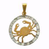 Кулон Рак Красное золото, 585 проба. Фигура рака в круге