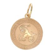 Кулон Козерог, круг с греческим рисунком, алмазная огранка, красное золото