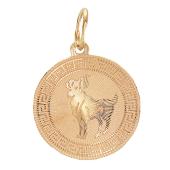Кулон знак зодиака Овен, овен в круге с алмазной гранью, красное золото 585 проба