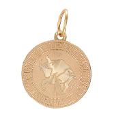 Кулон знак зодиака Телец, телец в круге с алмазной гранью и греческим рисунком, красное золото