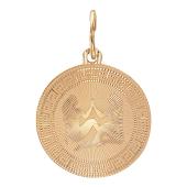 """Кулон знак зодиака """"Близнецы"""" в круге с алмазной огранкой и греческим рисунком, красное золото"""