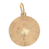 Кулон Рак Красное золото, 585 проба. Знак рака в круге с алмазной огранкой