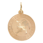 Кулон Лев Красное золото, 585 проба, Фигура обозначающая льва на круглой пластине