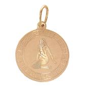 Кулон Дева Красное золото, 585 проба. знак девы на плоскости с алмазной огранкой
