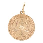 Кулон Весы, красное золото 585 проба. Знак рака в круге с алмазной огранкой