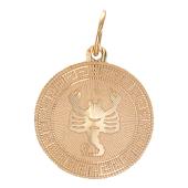 """""""Скорпион"""" Красное золото, 585 проба. Изображение скорпиона в круге с алмазной огранкой"""