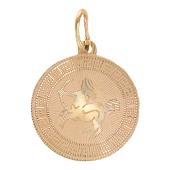 Кулон Стрелец, круг с греческим рисунком, алмазная огранка, красное золото