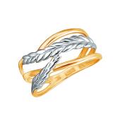 Кольцо Колосок из красного золота 585 пробы с родированием