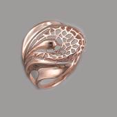 Кольцо ажурное, красное золото