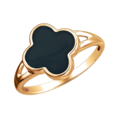 Кольцо Клевер с эмалью из красного золота 585 пробы