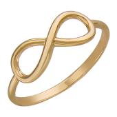 Кольцо Бесконечность без вставок гладкое, красное золото