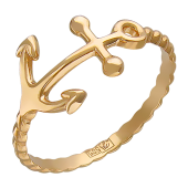 Кольцо Морской Якорь без вставок, имитация каната, красное золото