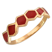 Кольцо Африка с красной эмалью, красное золото