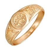 Кольцо православное с крестом и надписью Господи, Помилуй Мя Грешнаго, красное золото