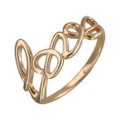 Кольцо с надписью Love, красное золото